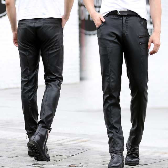 2016 Fashion Men's Leather Pants Skinny Fit Men Faux Leather Pencil Pants Trousers with Zipper Black Plus Size KL1803
