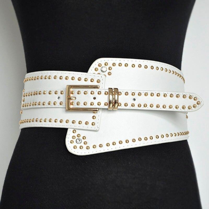 Luxury Ladies Wide Leather Belt Punk Style Rivet Pin Buckle Belts Designer PU Elastic Band Belt Cool Bg-477