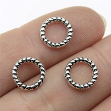 Wysiwyg 20 pçs 10x10mm círculo charme para fazer jóias antigo prata cor círculo conector charme