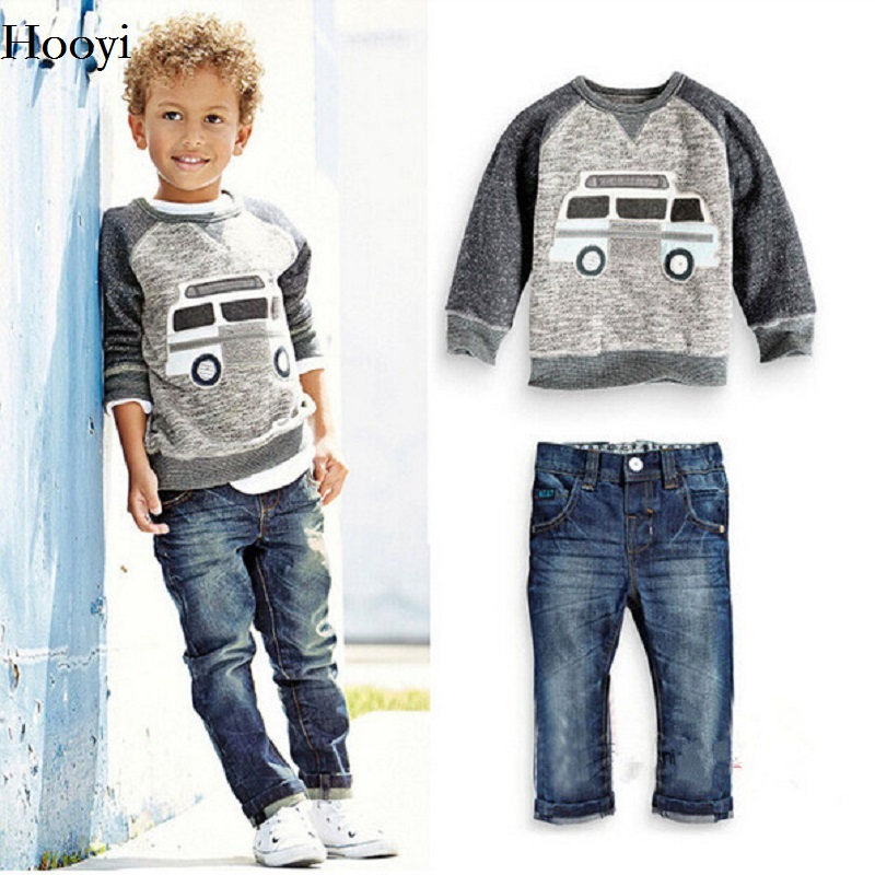 Caravan Grey Boys Clothes Sets Children Sweater Jean Clothing Set Autumn Spring Baby Boy Sweatshirts Trouser Jeans Outfit Cotton