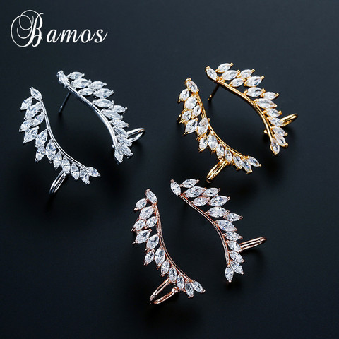 Bamos New Unique Design Silver/Yellow/Rose Gold Filled Double Wings Stud Earrings For Women Sparkling White AAA Zircon Earrings Pakistan