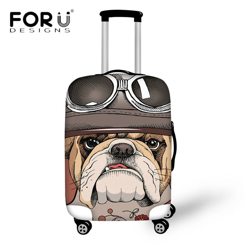 FORUDESIGNS Cool Tough Bulldog Pattern Luggage Cover Thick Dust Rain Cover for 18-30 Inch Travel Bag Suitcase Protective Covers