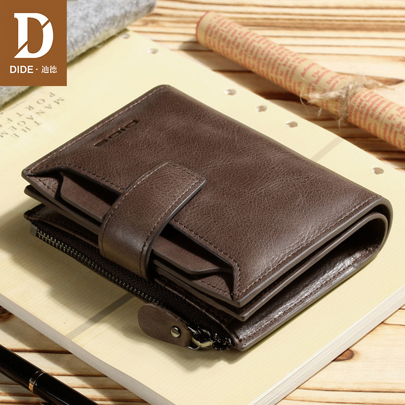 DIDE Large Capacity Casual Business Genuine Leather Wallet Male Short Clutch Bag men For Gifts Coin Purse Trifold Brand 2018 New semyon bychkov giuseppe verdi otello blu ray