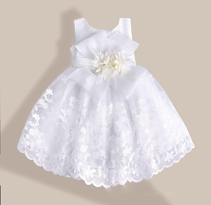 2016 Bayi Perempuan Gaun Renda Bunga Bordir Gaun Pesta Anak Anak