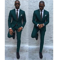 new Fashionable men's suits New Dark Green Men Suits Formal Business Tuxedos Men Wedding Suit Jacket+Pants custom