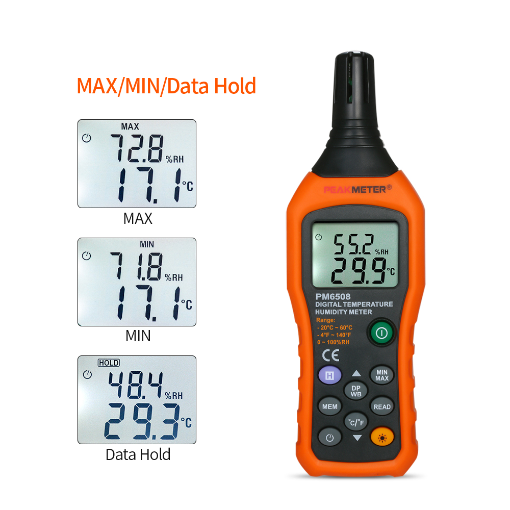 PEAKMETER Digital LCD Mini Thermometer Hygrometer Psychrometer Temperature Detector Humidity Meter with Max/Min/Data Hold Mode
