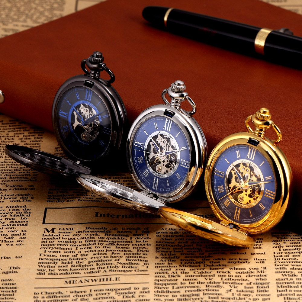 Kronen Sohne Steampunk Skeleton Roman Mechanical Blue Pocket Watch Men Vintage Hand Winding Fob Watches Long Chain /KSP071
