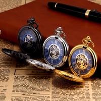 Kronen Sohne Steampunk Skeleton Roman Mechanical Blue Pocket Watch Men Vintage Hand Winding Fob Watches Long Chain /KSP071