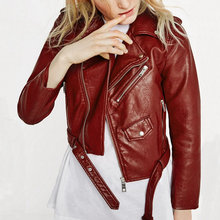 2016 New Fashion Women Wine Red Faux Leather Jackets Lady Bomber Motorcycle Cool Outerwear Coat with Belt Hot Sale