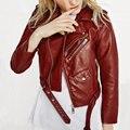 2016 Novas Mulheres Da Moda Vinho Vermelho Faux Leather Jackets Lady Bomber Motocicleta Legal Outerwear Casaco com Cinto de Venda Quente