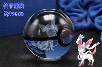 Pokemon Go Inspired Laser Crystal K9 Engraved LED Base Changes Color Led Toy Night Lamp Sylveon