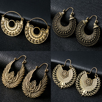20 Styles Indian Tribal Brass Earring Dangle Drop Earring Flower Ornate Swirl Gypsy Earring For Women Boho Vintage Earring