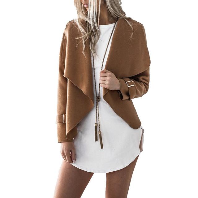 חדש נשים ארוך שרוול מפל שכמיית דש מגניב Loose סדיר מעיל מעיל סתיו חם