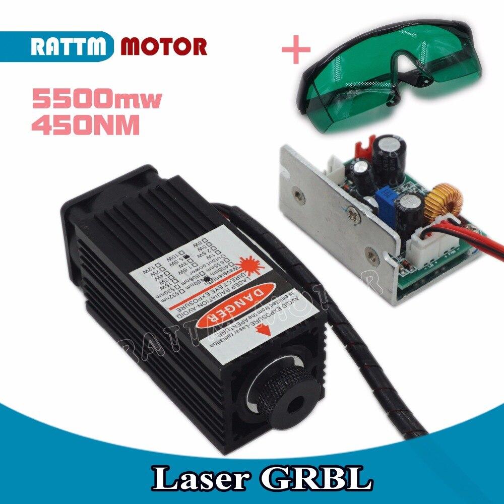 5500 mw haute puissance 450NM en se concentrant bleu laser module laser gravure et la découpe TTL module 5500 mw laser tube + lunettes de sécurité