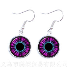 Evil Dragon Eye Earrings New Fashion Lovely Color Cat Eye Glass Cabochon Dome Handmade Drop Earrings For Women Girls Jewelry(China)