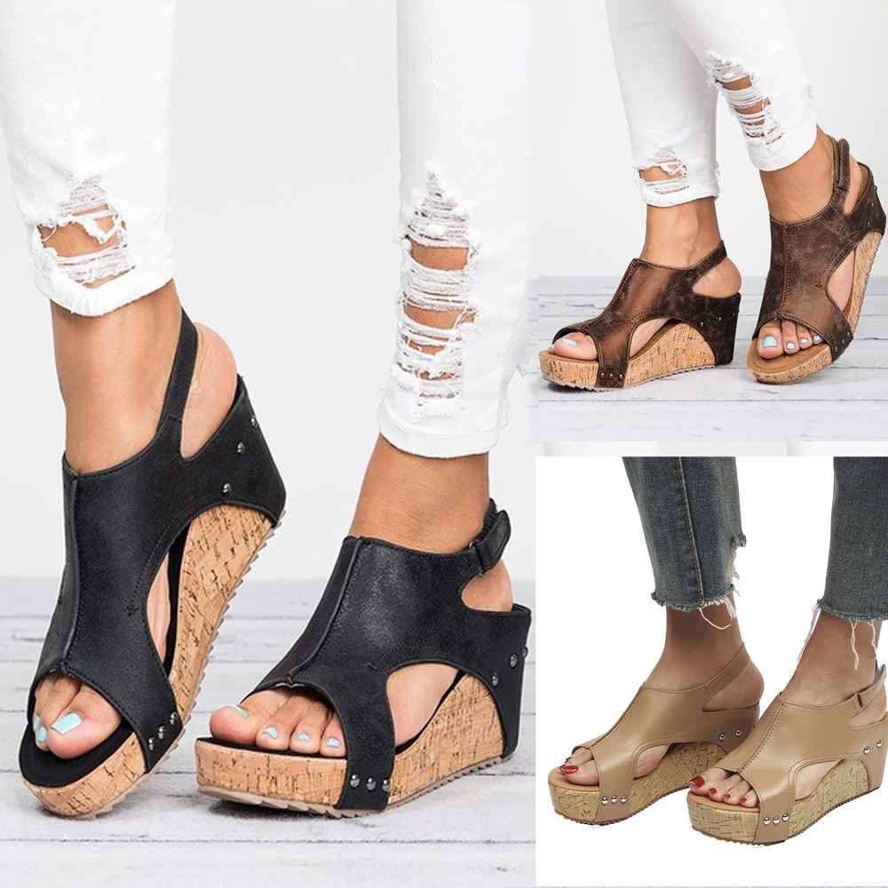 Wedges Shoes High-Heels Sandals Women NEW Hot Summer Casual Rivet Boho Round-Toe Breathable