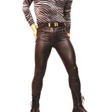 Pantalones de talla grande sexis de piel sintética para Hombre, pantalones informales negros ajustados de Moto, pantalones ajustados para Club, ropa de Hip Hop para Hombre