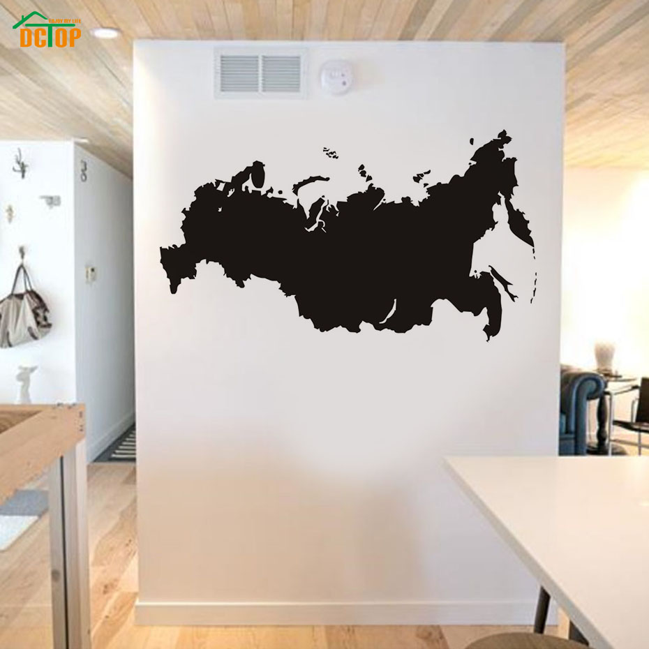 Vinyl Removable Russia Map Wall Sticker Living Room Self Adhesive Waterproof Wall Art Sofa Background Home Decor Accessories