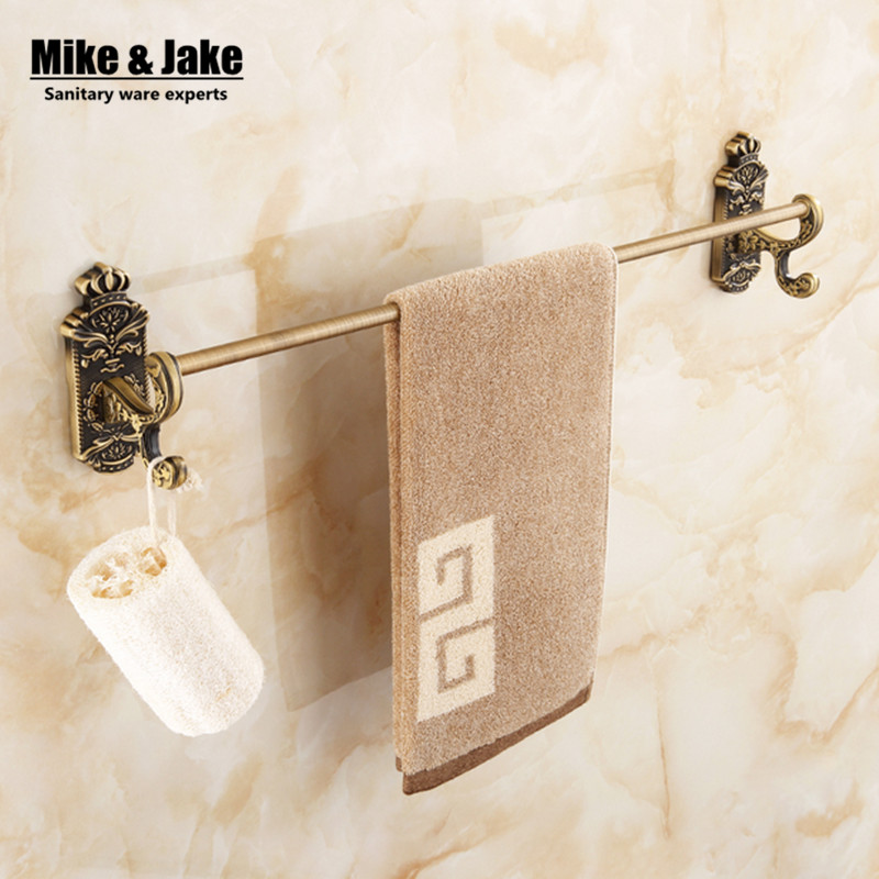 antique single towel bar crown towel bar holder towel rack solid brass made high quality vintage bathroom accessories mj6700