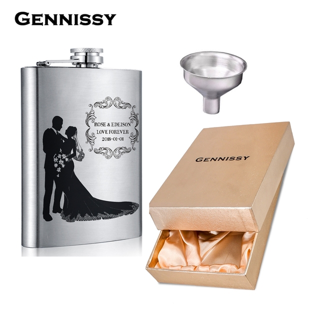 GENNISSY 8OZ Personalised Hip Flask Customize Flasks Engraved Photo and Text for Groomsmen and Best Friend Great Gift Wedding