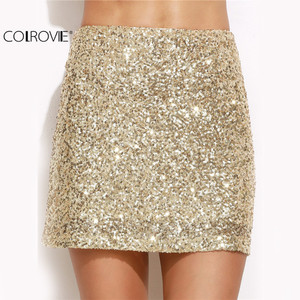 Image 3 - COLROVIE ผู้หญิงกระโปรงสั้นผู้หญิงเกาหลีเซ็กซี่ Clubwear ทองปักเลื่อมมินิกระโปรง