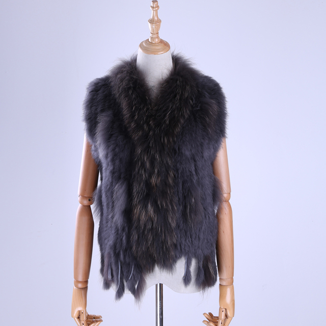 Brand New Women's Lady Genuine Real Knitted Rabbit Fur Vests tassels Raccoon Fur Trimming Collar Waistcoat Fur Sleeveless Gilet 2