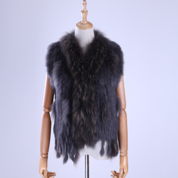 Brand New Women's Lady Genuine Real Knitted Rabbit Fur Vests tassels Raccoon Fur Trimming Collar Waistcoat Fur Sleeveless Gilet