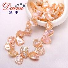 DAIMI Perla Barroca Grandes y Corazón Broche de Collar de perlas Naturales, rosa de Color Blanco 9-10mm Rare Perla Biwa Keshi Perla