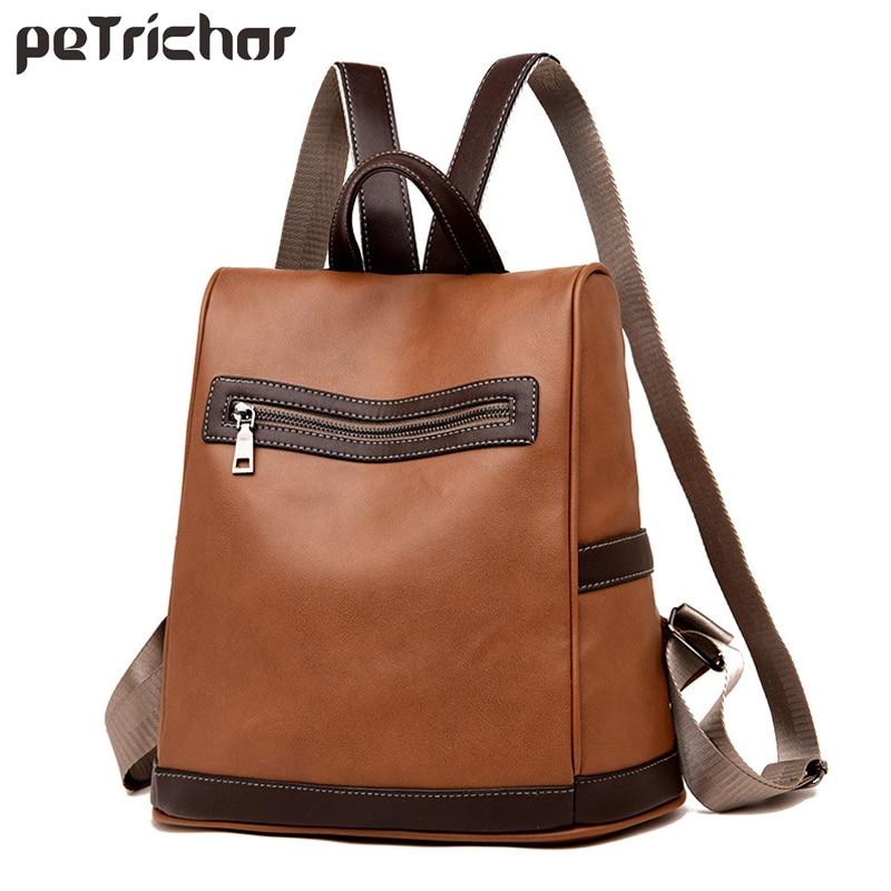 Petrichor Fashion Women Backpack Large Capacity School Backpack Vintage Female PU Leather Mochila High Quality Ladies Bags