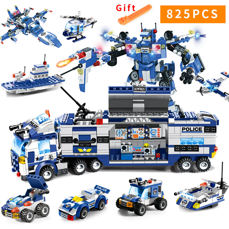 8 In 1 City Police Station Series SWAT Building Blocks LegoED Bricks Policeman Figures Weapons Aircraft Car Robot Toy for Kids Car phone