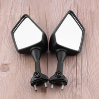 2PCS Black Left Right Rear View Mirrors For Motorcycle Durable Plastic Aluminum Stem Glass Mirror Side