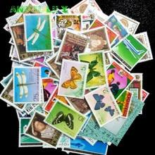 Северокорейский почтовый штамп 250 шт./лот разных цветов без повторов среднего и большого размера с почтовыми отметками