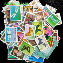 North Korean 250 pcs / lot  All Different No Repeat Middle and Big Size Postage Stamp With Post Mark estampillas de correo