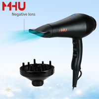 MHU Hair Dryer Professional Ceramic Tourmaline Blow Dryer Salon Infrared Negative Ions AC Motor Black Valentines