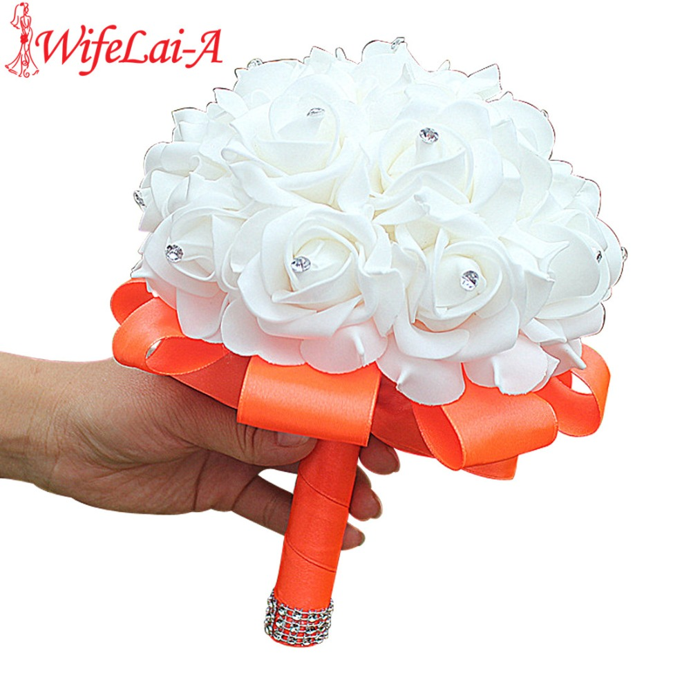 White PE Rose Bridesmaid Wedding Foam Flowers Rose Bridal Bouquet Ribbon Fake Wedding Bouquet De Noiva 15 Color You Can Custom