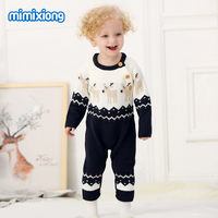 Navy Santas Reindeers Knitted Newborns Baby Rompers Winter Toddler Girls Christmas Overalls Autumn Long Sleeves Infant