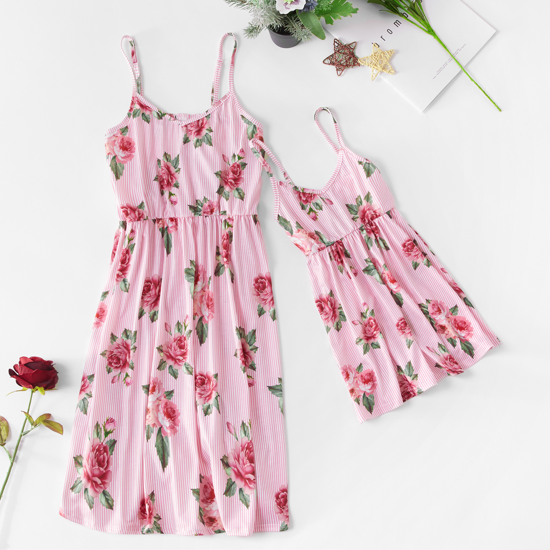 Tank Striped Mother And Daughter Matching Dresses Family Look Mommy And Me Clothes Mom Mum Baby Dress Outfits Summer Clothing