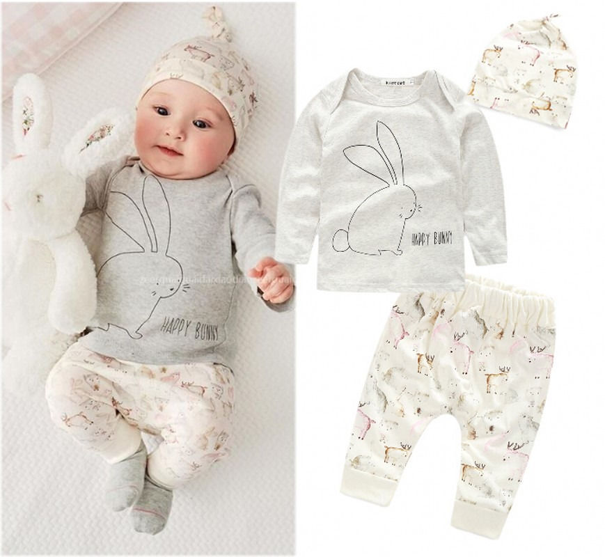 3pcs clothing set!!2016 wholesale new infant baby boy girl bunny long sleeve tops cartoon long pants hat clothing newborn baby boy girl 5 pcs clothing set cotton cartoon monk tops pants bib hats infant clothes 0 3 months hight quality