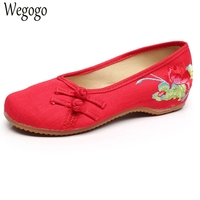 National Women Shoes Flats Lotus Embroidery Slip On Canvas Simple Comfortable Old Peking Ballerina Shoes Woman