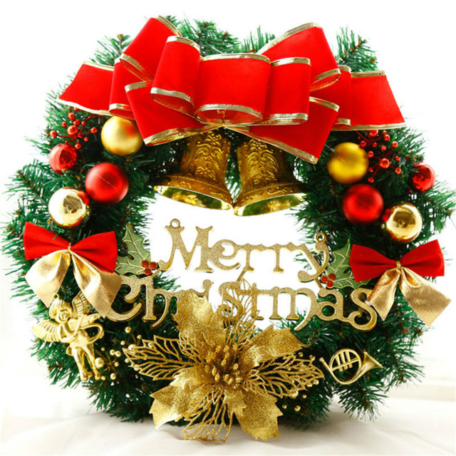 2017 christmas wreath bow pine needle christmas decoration for New home christmas decoration