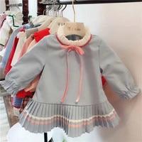2018 Autumn Winter Girls dress fleece lining long sleeve A line New Blue Princess Dress Toddler Baby School Wear