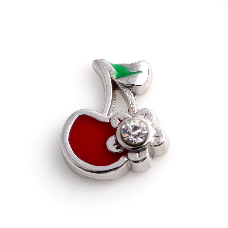 Free Shipping, 20pcs One Rhinestone Cherry Floating Charms Fit For Lockets, Gifts