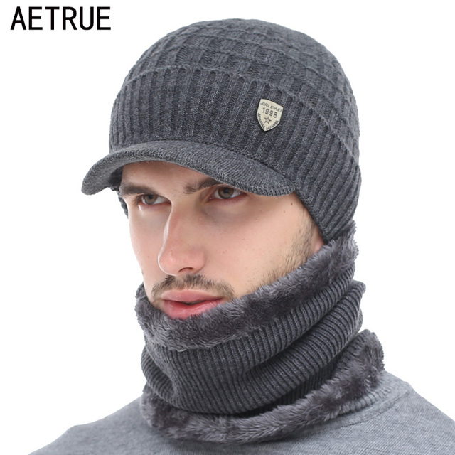 AETRUE Winter Hat Skullies Beanies Hats Winter Beanies For Men Women Wool Scarf Caps Balaclava Mask Gorras Bonnet Knitted Hat 1