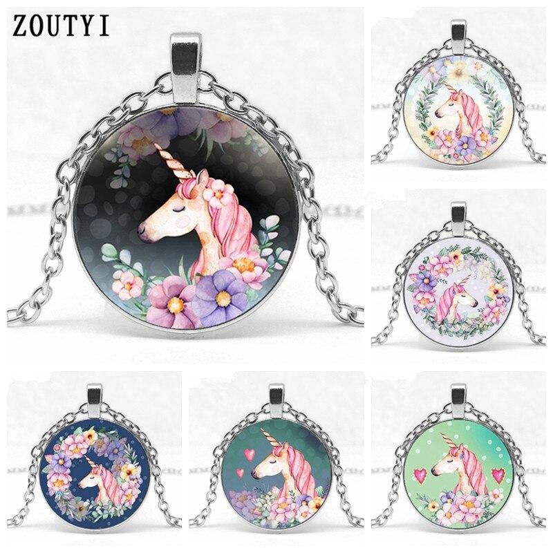 2018/Cute Unicorn Vintage Necklace Antique Bronze Chain Glass Bullion Pendant Necklace Female Vintage Handmade Jewelry Gift
