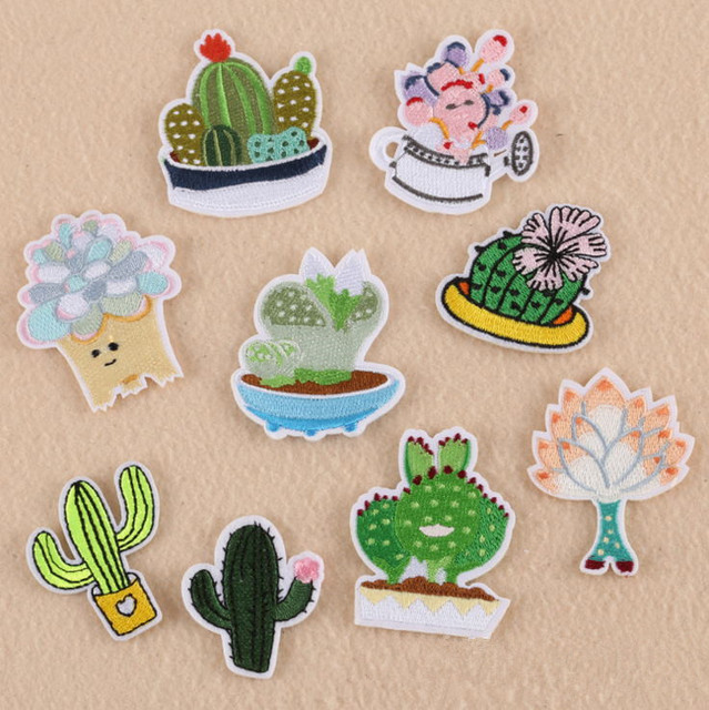 New Arrival 10 Pcs Plant Cactus Embroidered Patch Iron On Applique