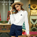 Veri Gude Women Polka Dot Blouse Cotton Shirt Contrast Collar Patchwork Turn-down Collar