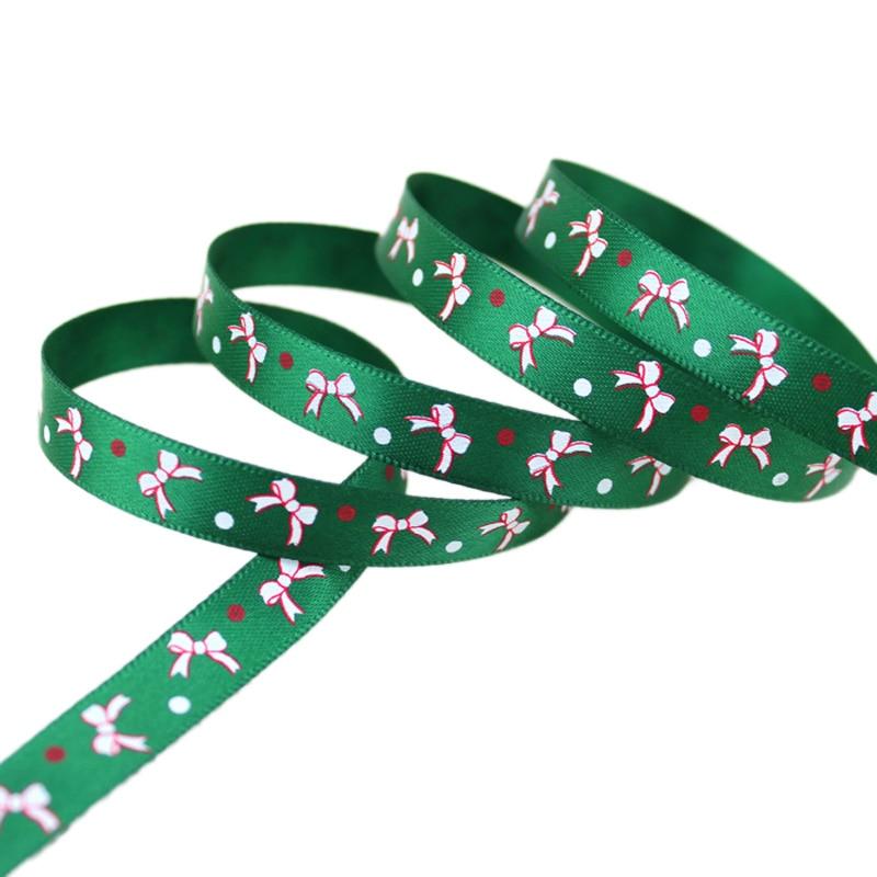 Мм (5 ярдов/партия) 3/8 »10 мм зеленый печатных grosgrain лента Рождество бантом атласные ленты оптовая продажа