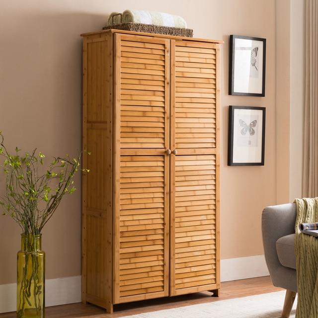 7 Tier Natural Bamboo Floor Standing Shoe Cabinet With 2 Doors  Multi Functional Display Rack