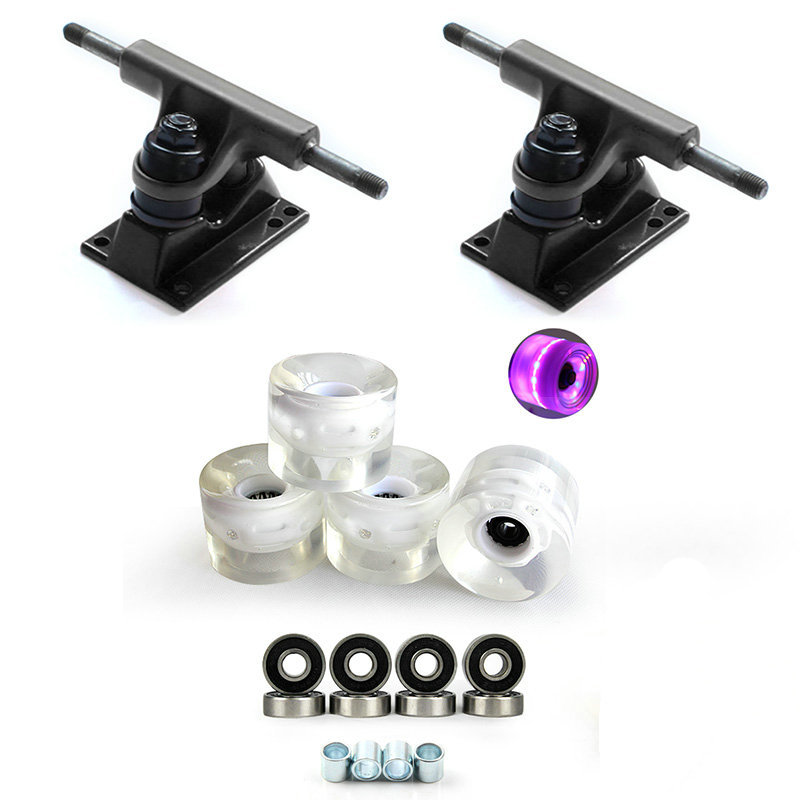 New DIY 3.25inch Black Skateboard Trucks With 60*45mm PU LED Skateboard Wheels Bridge And ABEC-9 Bearings Free Shipping