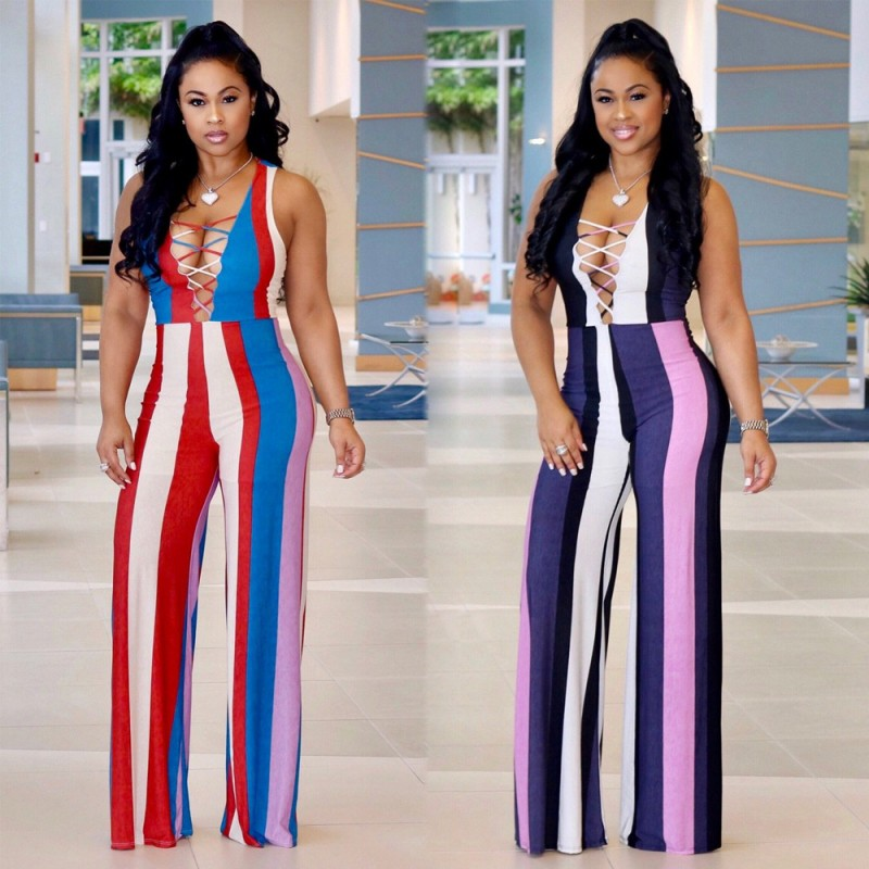 2019 New Arrival Women Jumpsuit  Dashiki Sleeveless Sexy Zipper Striped Print Wide-Leg Jumpsuit Women Clothes